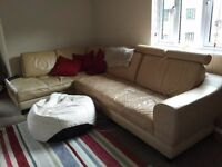 Large cream leather corner sofa for sale, £250, collection only. Approximately 8ft x 5ft.