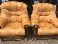 Tan Leather and Wood Three Seater Sofa and Two Chairs