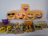 Job Lot of Emoji Cushions, Necklaces, Torches, Clocks, Figures & Money Boxes