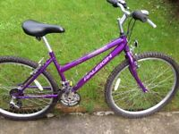"""RALEIGH women's bike 26""""wheels,18 gears,16""""frame good condition fully working order"""