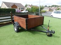 car trailer 5 ft x 4 ft x 1.8 ft camping trailer 7 cwt. new wheelss,tyres, suspension and most wood