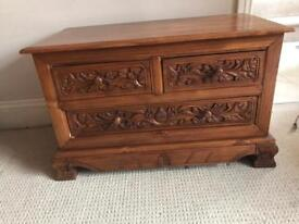Teak decorative carved Chest of drawers
