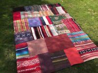 Large handmade multicoloured Indian patchwork rug