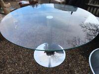 Chrome Base- Round Glass Table