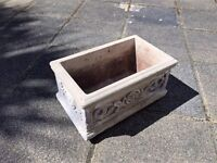 One ornate molded stone garden planter - heavy