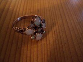 Stunning vintage opal 9ct hallmarked rose gold ring size Q