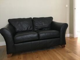 Black Leather Marks & Spencer Leather 2 seater Sofa