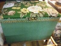 Small retro ottoman / Blanket Box. Lloyd Loom Storage
