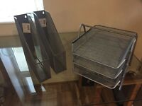 Office Paper Storage Silver Wire Paper Tray and upright Standa