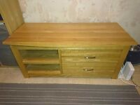 Solid Oak TV Stand (140cm x 60 x 60) with drawers (£330 when new)
