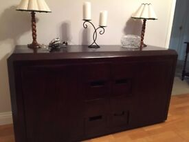 Solid dark wood side cabinet for dining room or lounge