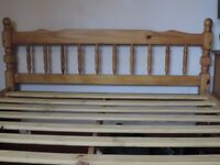 Double bed frame, mattress also available, 4 years old, wooden, slatted base, good condition