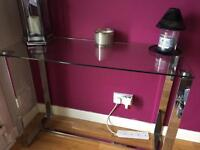 GLASS AND CHROME TABLE