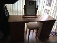 Large Pine 6 drawer double dressing table, stool and swivel mirror