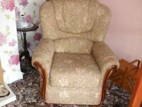 three piece suite two seat sofa, two armchairs in oatmeal with extra light blue covers
