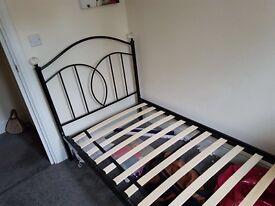 Black frame single bed