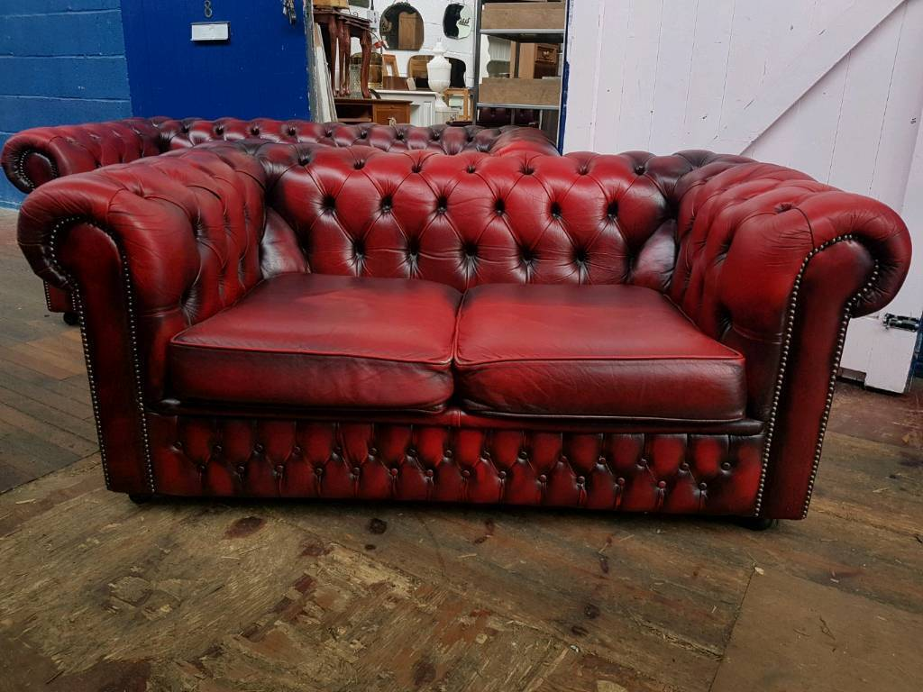 Saxon Chesterfield Oxblood Sofa