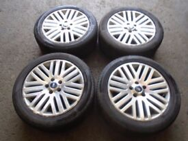 2010 FORD MONDEO MK4 SET OF 4 ALLOYS + TYRES 235/45 R17 CONTINENTAL 5-6MM #5837