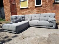 Stylish BRAND NEW grey fabric large corner sofa ,good quality ,can deliver