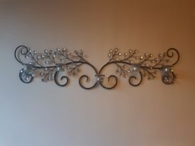 Wall hanging art sparkly diamante candle holder