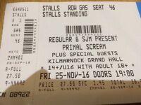 Primal Scream tickets Grand Hall Kilmarnock 25/11/16