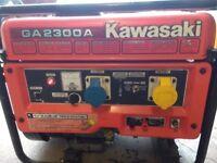 kawasaki petrol generator 2.3 kva 240/110/12 volt excellent runner