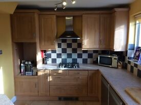 Complete used fitted kitchen units cupboards soft close & worktops & sink large
