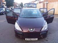 1.6 PEUGEOT 307 SEMI AUTO 2006YEAR 88000MILE MOT11/6/18 HISTORY HPI CLEAR 3 MONTH WARRANTY HPI CLEAR