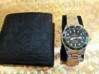Rolex watch and wallet set