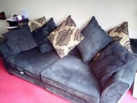 Black crushed velvet 3 seater sofa