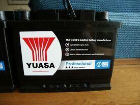 Yuasa Professional Car Battery: Type 027, 60 AH, 540 CCA, As New, 2 Available.