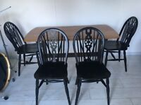 Ercol table plus wheel back chairs
