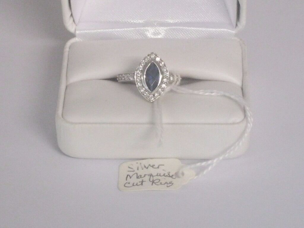 Sterling silver marquise cut sapphire ring with mark 925