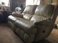 FREE Cream Leather 2-Seater Recliner