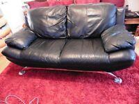 Genuine BLACK LEATHER 2 SEATER SOFA can seat 3 LARGE – Used rrp £1250 LONDON W14 fulham west ken