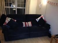 two Lazy boy sofas black/grey pin stripes fully reclining good as new
