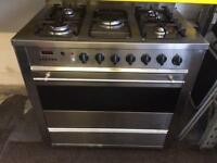 Stainless steel baumatic 90cm five burners dual fuel cooker grill & fan oven good condition with gu