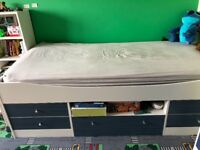 Boys mid sleeper bed with drawers. Including mattress!