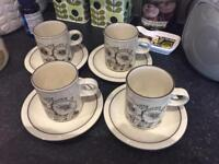 Four Hornsea Lancaster Cornrose Coffee cups and saucers in excellent condition