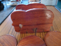 Wooden Round Coasters in Elephant Stand