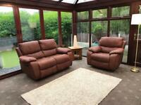 Harvey's Bel Air Faux Leather Suede Brown Two Seater Recliner Sofa And Recliner Armchair