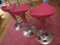 * BAR STOOLS ~ PINK & CHROME ~ GAS HEIGHT ADJUSTER ~ FULLY WORKING ~ GOOD CONDITION 07739 329 389 *