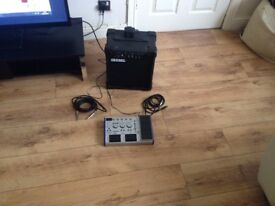 Guitar Amp (10w) with effects pedal and 2 cables.BARGAIN!!!