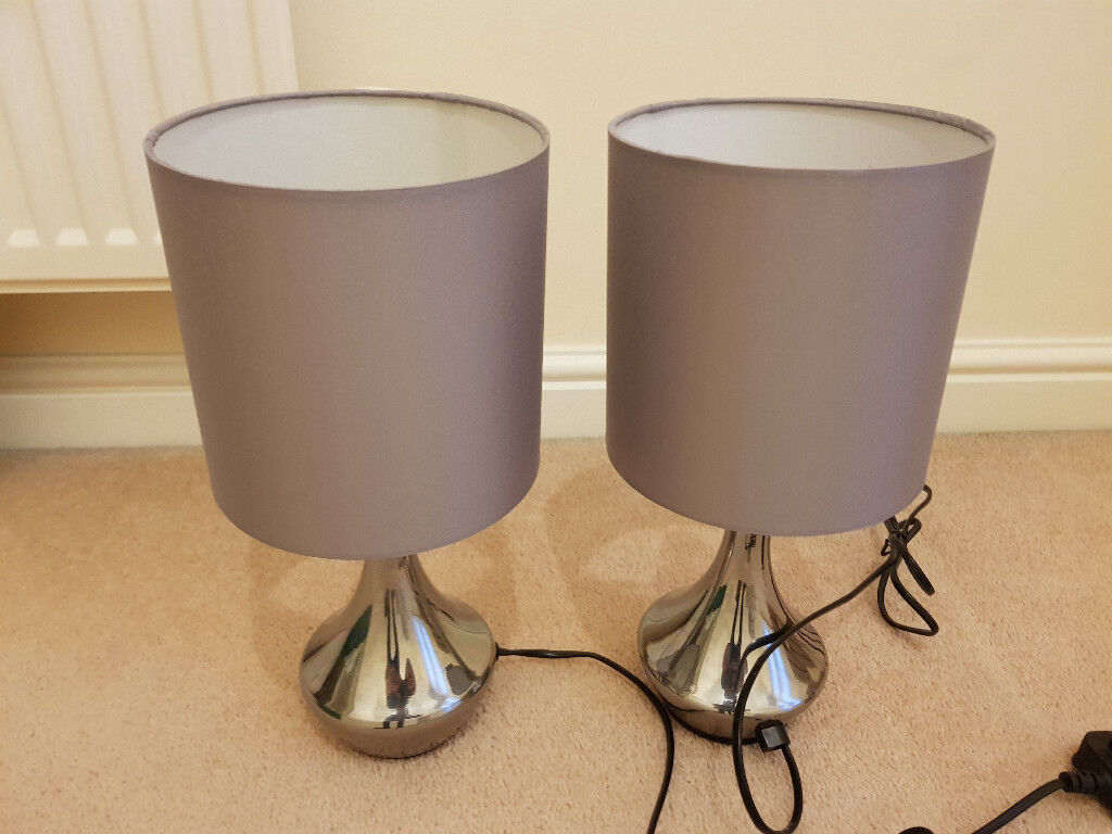 2 x Light Grey Touch bedside lamps excellent condition