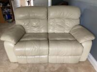 Cream reclining 2 seater leather sofa