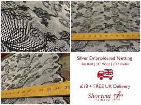 Silver Embroidered Netting - 6m Roll