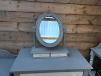 Grey and white painted dressing table mirror