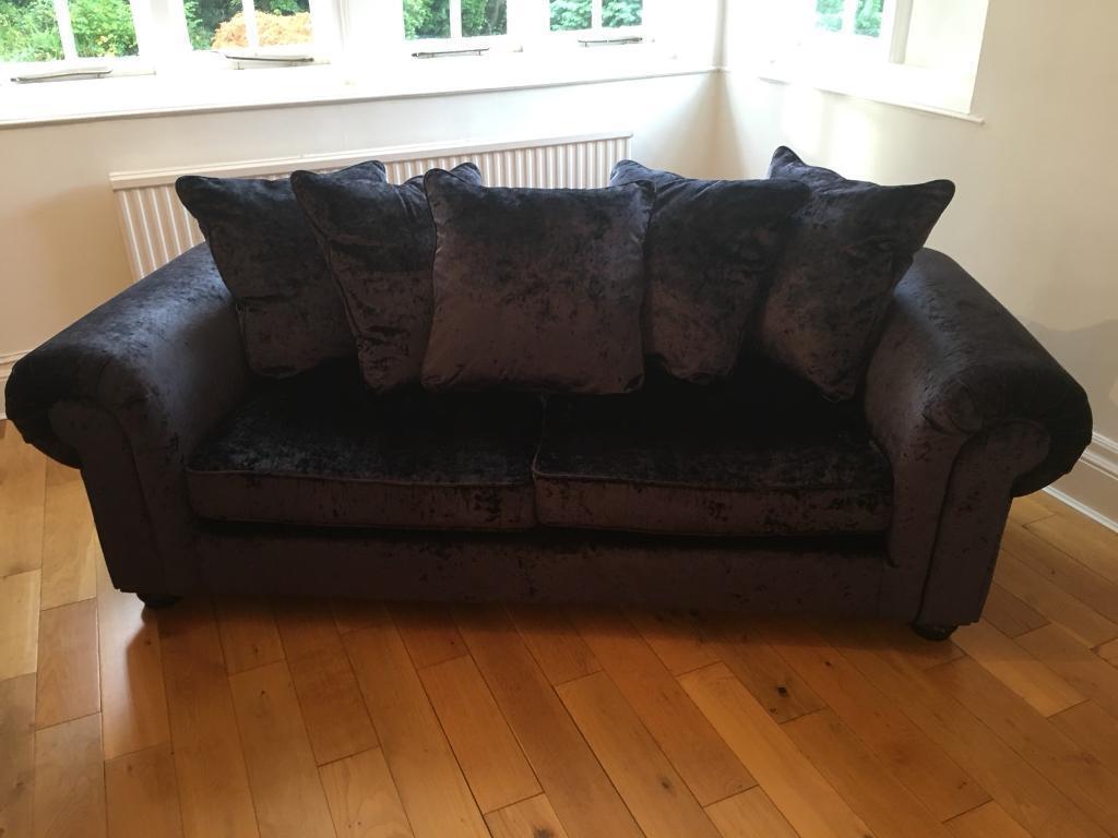 Black Crushed Velvet 2+3 Seater Sofa