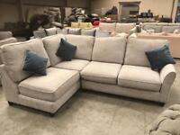 New silver grey corner sofa
