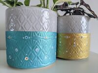 Hand decorated planter - Ceramic pot holder - Decorative plant pot - Dipped glaze pot cover